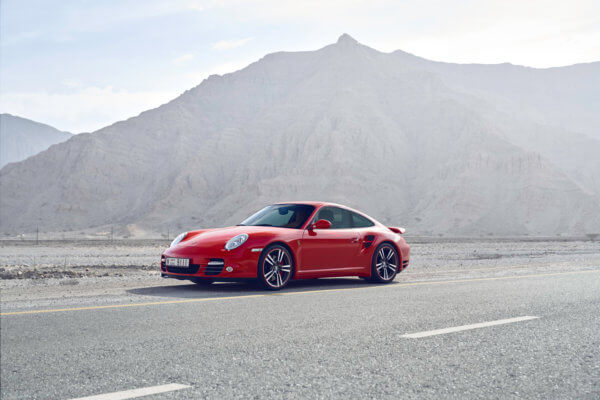 Porsche 911 in a Dubai desert Car photography